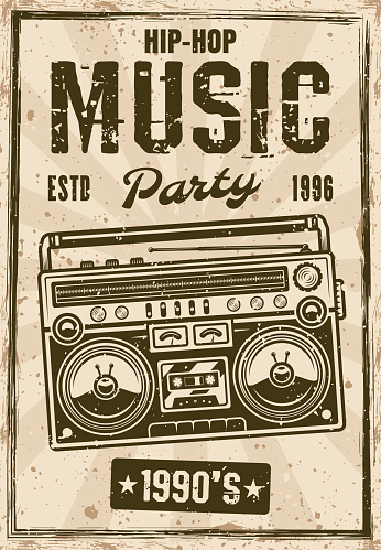 Hip-hop music nineties party vintage poster with boombox vector illustration. Layered, separate grunge texture and text