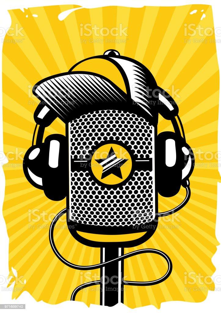 8e35db4c46530 Ilustración de Cartel De Música Hiphop Con Micrófono Vintage Música ...