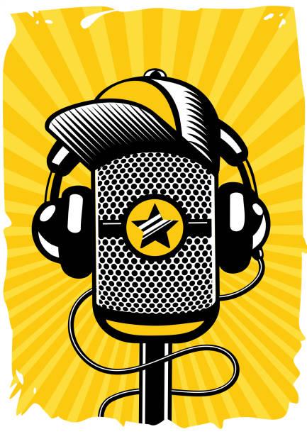 hip hop musik poster mit vintage mikrofon. live-musik, rap-partei. vektor-illustration. - swag stock-grafiken, -clipart, -cartoons und -symbole