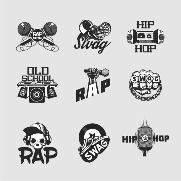 hip hop musik zeichen gesetzt. rap-auflistung der parteien des emblems. alten schädel stil. - swag stock-grafiken, -clipart, -cartoons und -symbole
