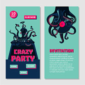 Octopus dj with turntable. Dance party invitation for nightclub with vinyl record. Hip-hop music battle.
