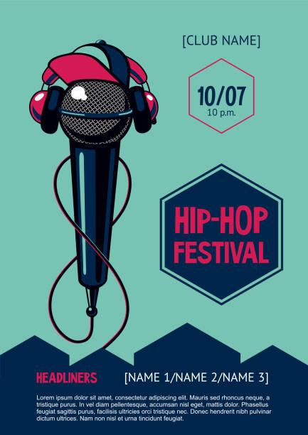 bildbanksillustrationer, clip art samt tecknat material och ikoner med hip-hop party affisch med mikrofon. rap festival inbjudan. vektor-mall. - hip hop poster