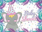 hipoppotamus wearing party hat to celebrate baby shower vector illustration