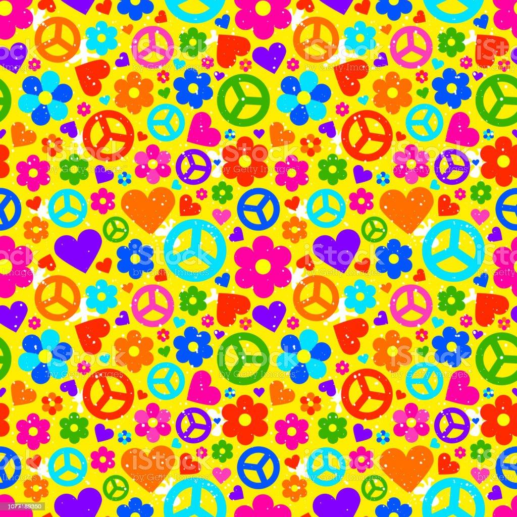 Hippie achtergrond. Vectorillustratie - Royalty-free 1960-1969 vectorkunst