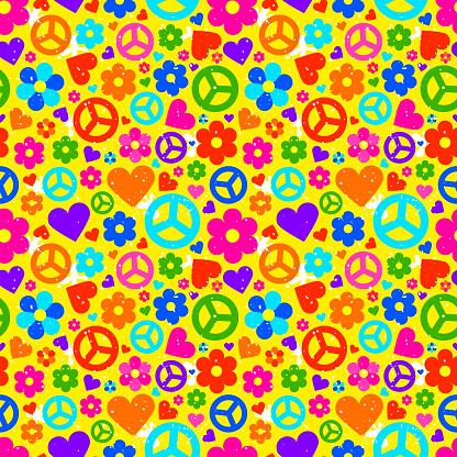 Hippie background. Vector illustration