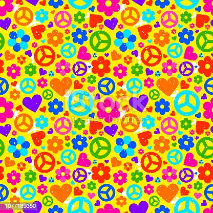 Hippie ornate background. Colorful seamless pattern with many object. Vector illustration
