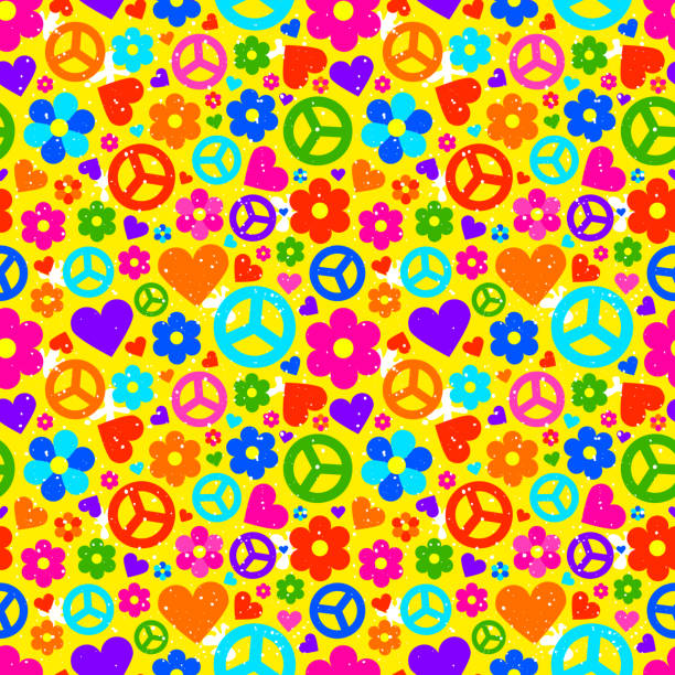 Hippie background. Vector illustration Hippie ornate background. Colorful seamless pattern with many object. Vector illustration symbols of peace stock illustrations