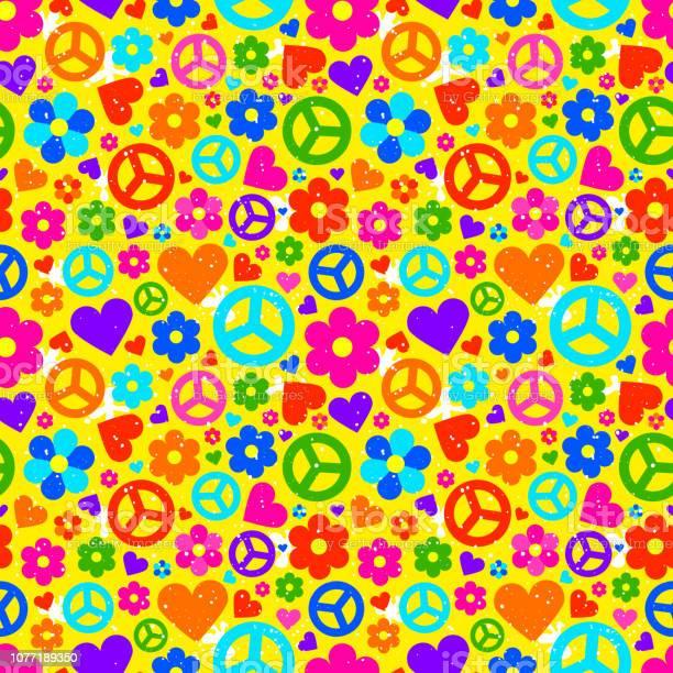 Hippie Achtergrond Vectorillustratie Stockvectorkunst en meer beelden van 1960-1969