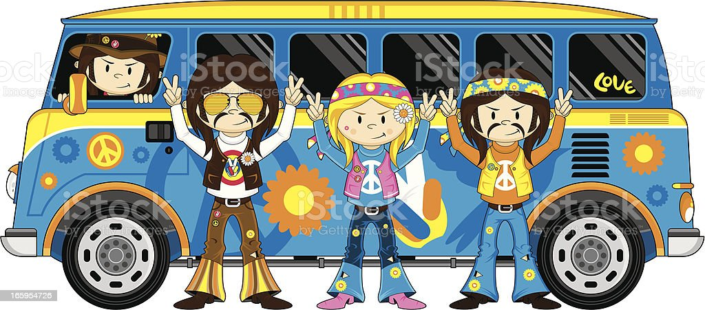 Hippie Bus and Cute Hippies vector art illustration