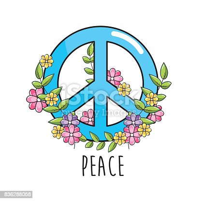 Hippie Emblem Symbol Of Peace And Love Stock Vector Art More