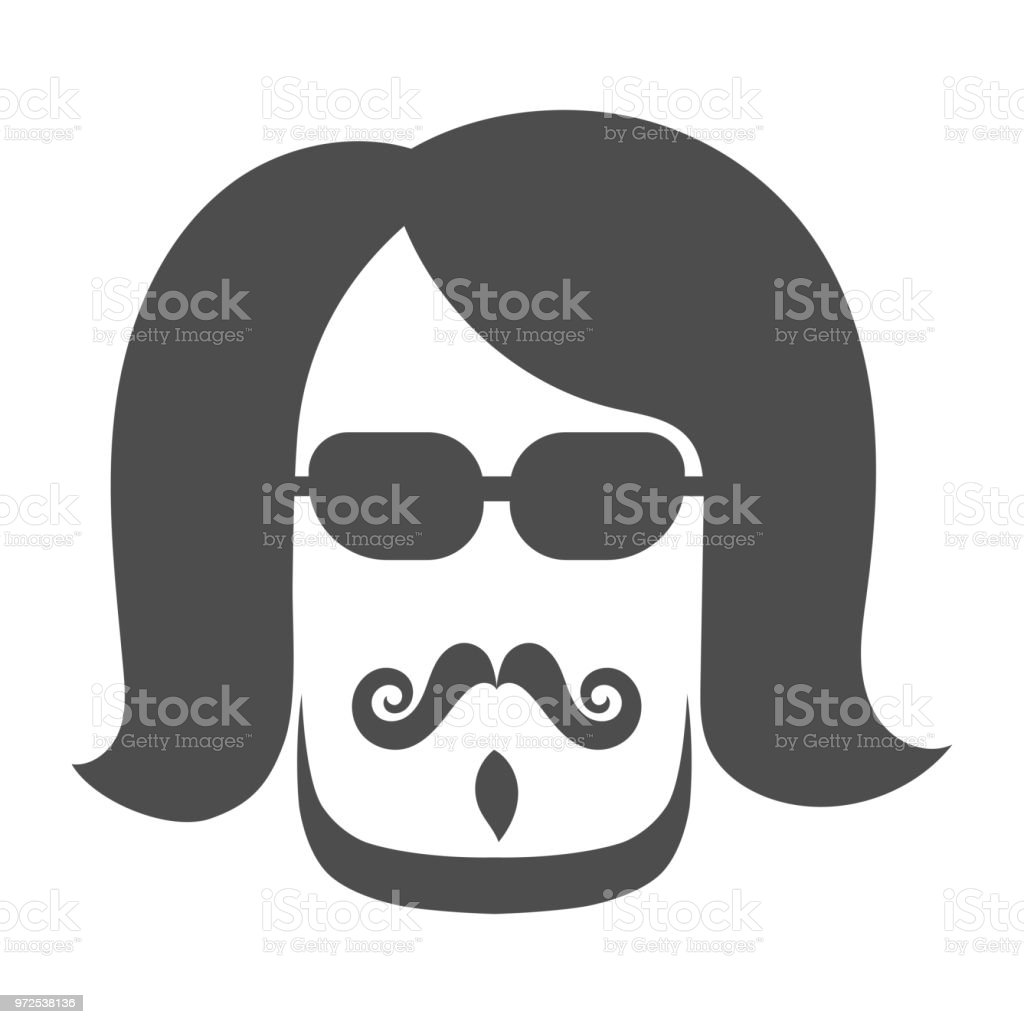 4873e69a9 Hippie face silhouette with sunglasses, vintage mustache, beard and long  hair. Vector illustration