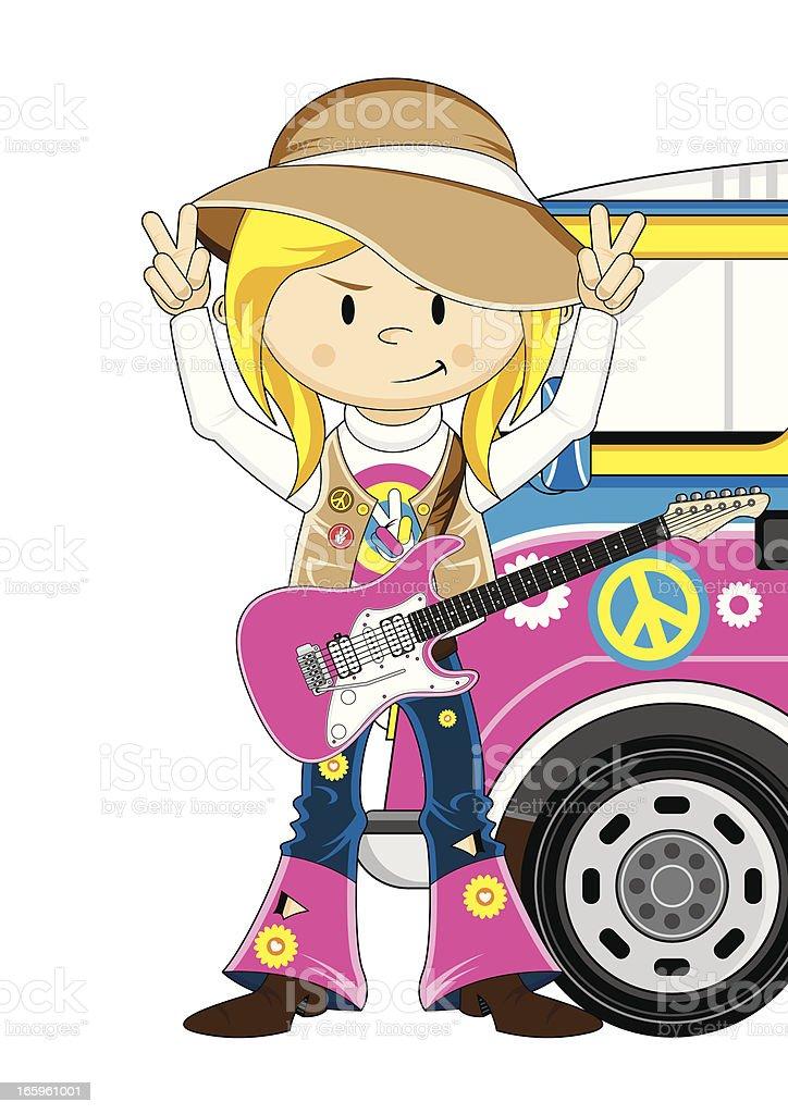 Hippie Girl Guitarist and Camper Van vector art illustration