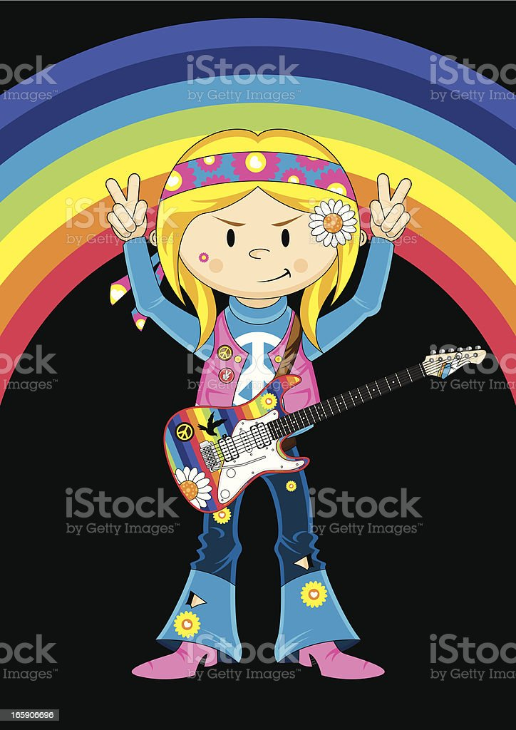 Hippie Girl with Electric Guitar vector art illustration