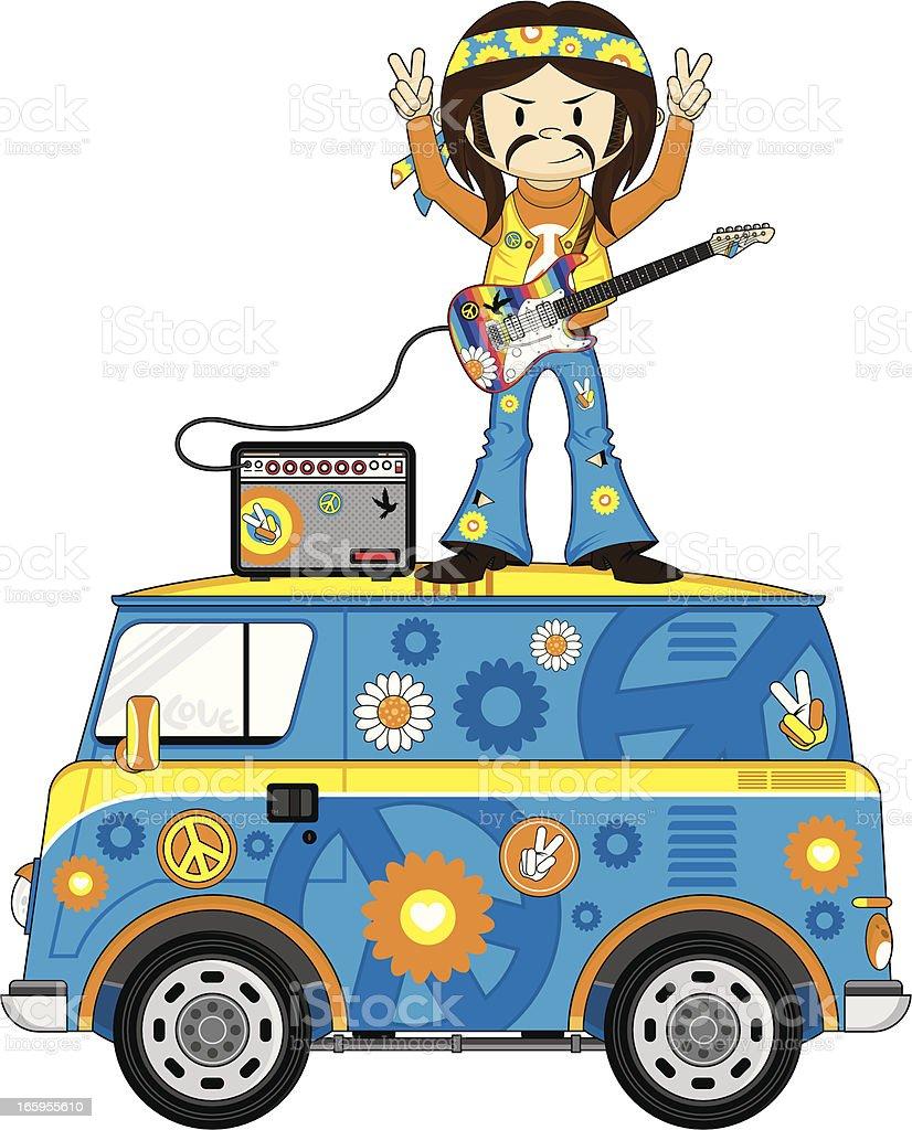 Hippie Guitarist on Camper Van vector art illustration