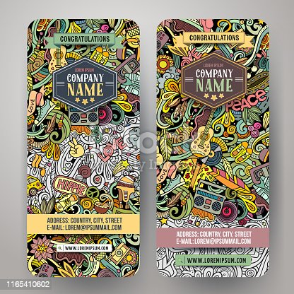 Hippie hand drawn doodle banners set. Cartoon detailed flyers. Hippy identity with objects and symbols. Color vector design elements illustration