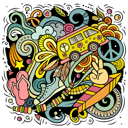 Hippie hand drawn vector doodles illustration