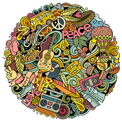 Hippie hand drawn vector doodles round illustration. Hippy poster design.