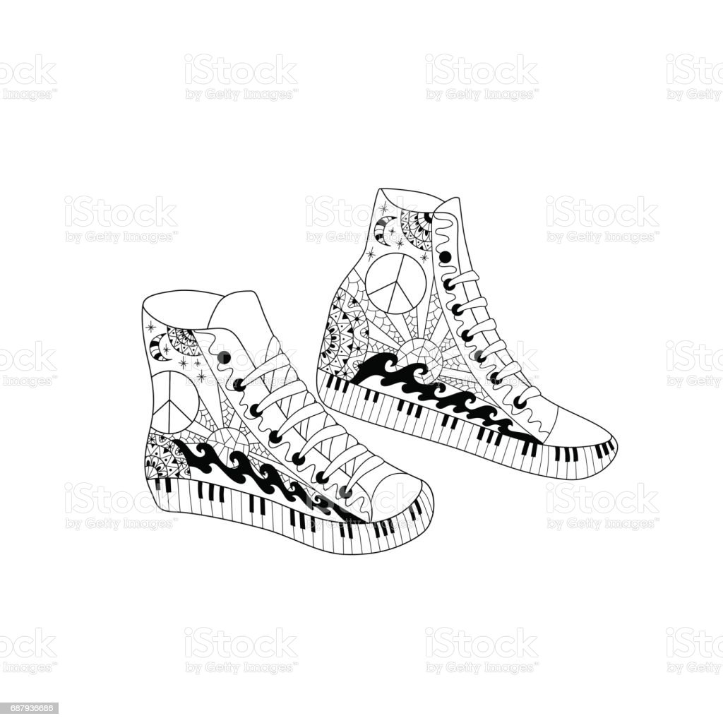 Estilo De Hippie Altura Ilustración Zapatillas Deporte XwkiuPTZO