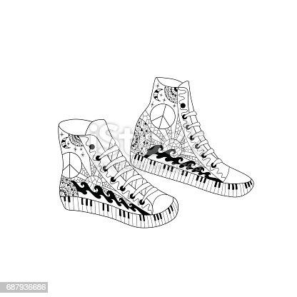 istock Zapatillas de deporte de alto colorido hippie estilo ornamental ...