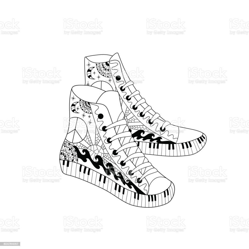 Ilustración de Zapatillas De Deporte De Altura Hippie Estilo ...