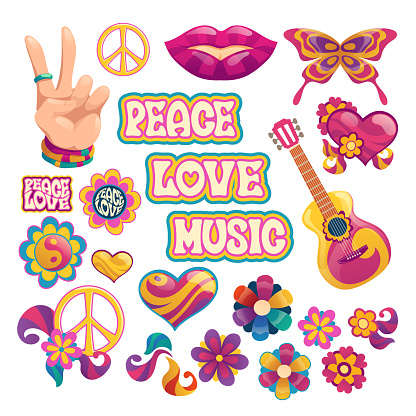 Hippie icons, signs of peace, love and music