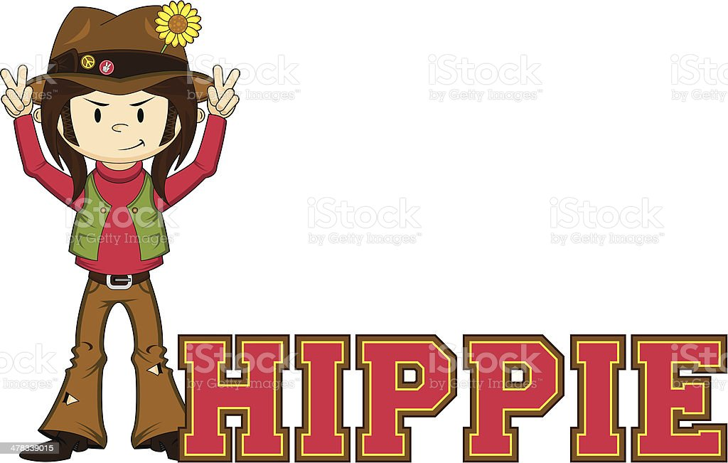 Hippie Learn to Read Illustration royalty-free hippie learn to read illustration stock vector art & more images of 1960-1969