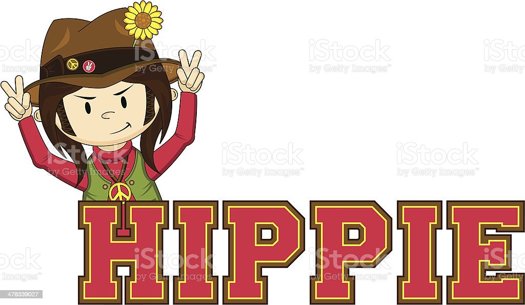 Hippie Learn to Read Illustration royalty-free stock vector art