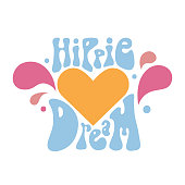 Vector illustration with hippie lettering  in pastel colors.