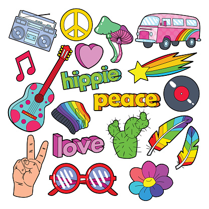 Hippie Lifestyle Doodle with Pink Van, Peace