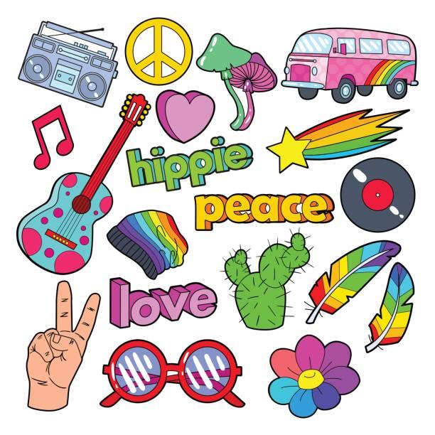 stockillustraties, clipart, cartoons en iconen met hippie lifestyle doodle met roze bus, vrede - hippie