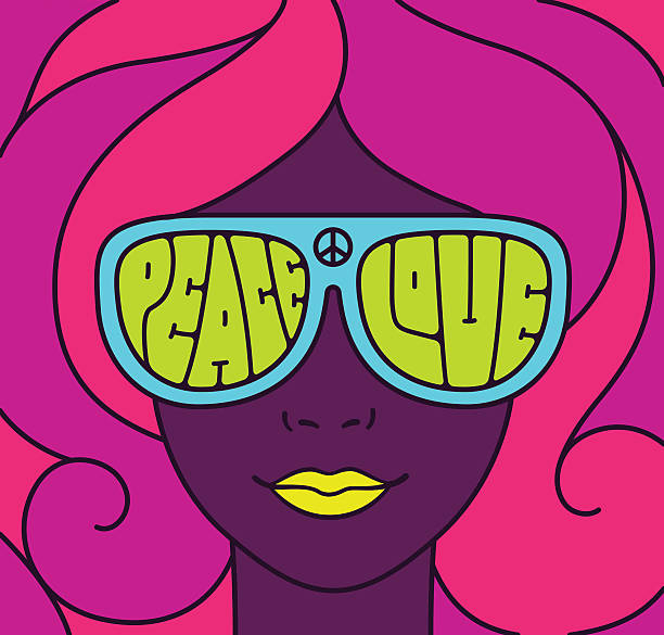 hippie love peace illustration - 1960s style stock illustrations, clip art, cartoons, & icons