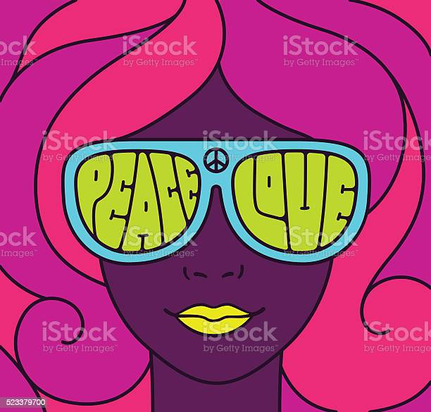 Hippie Love Peace Illustration Stockvectorkunst en meer beelden van 1960-1969
