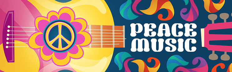 Hippie music cartoon banner with acoustic guitar