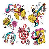 Hippie music doodle illustrations set.