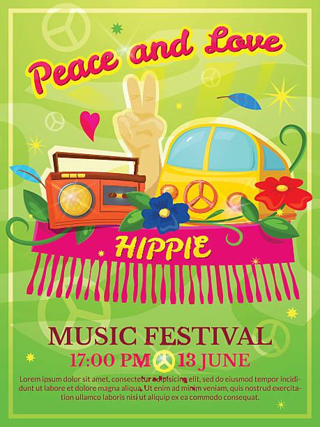 ilustrações de stock, clip art, desenhos animados e ícones de festival de música hippie cartaz, ilustração vetorial - viagens anos 70