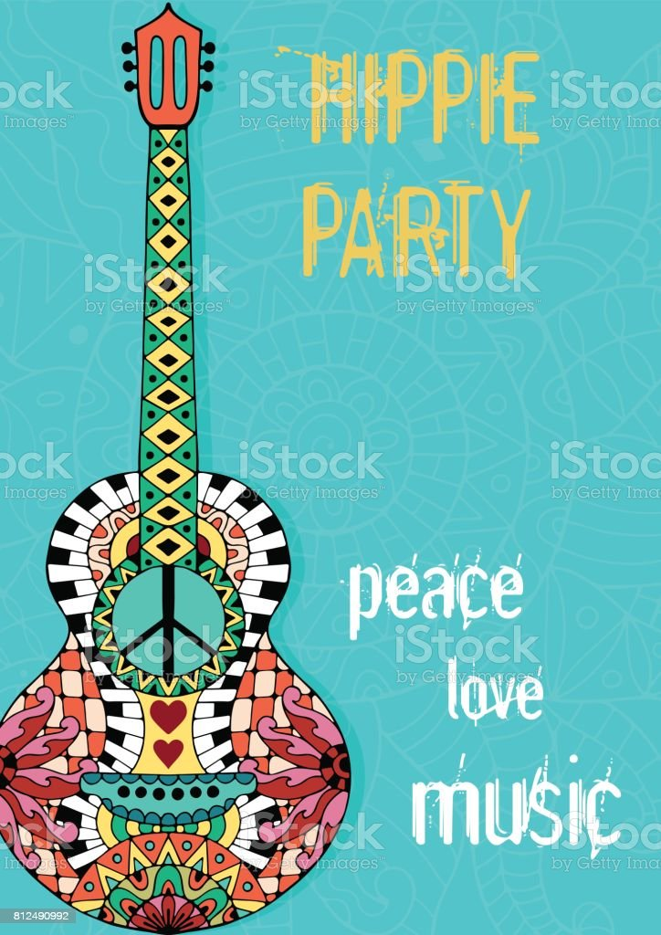 Hippie party poster. Hippy background with acoustic guitar. vector art illustration