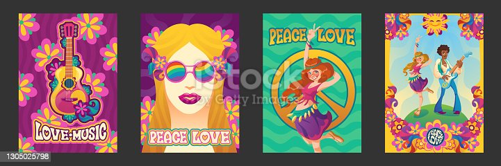 Hippie peace and love posters, woman gesturing, girl in rainbow glasses and flower wreath and man playing guitar on floral background. Happy smiling people in retro clothes on field Cartoon vector set