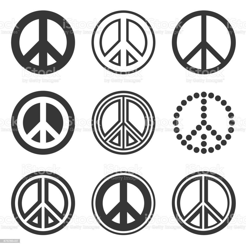 히피 평화 표지판 흰색 배경을 설정합니다. 벡터 - 로열티 프리 개념 벡터 아트