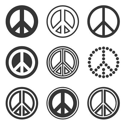히피 평화 표지판 흰색 배경을 설정합니다 벡터 개념에 대한 스톡 벡터 아트 및 기타 이미지