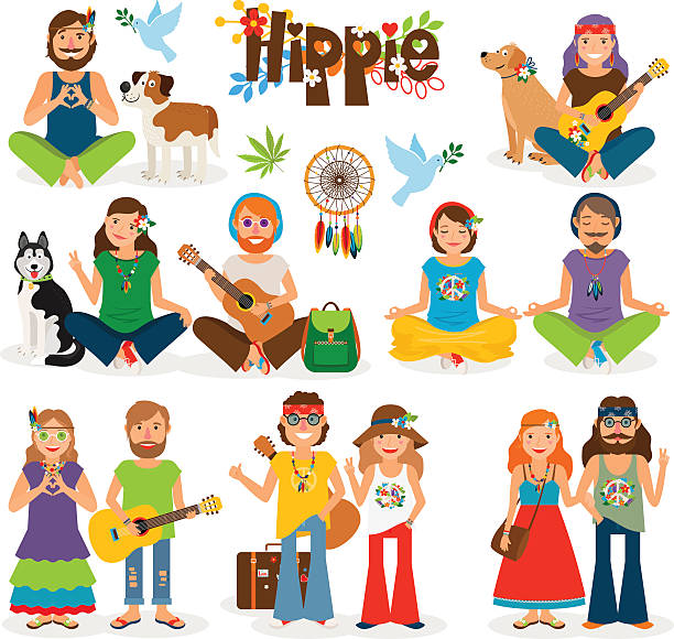 hippie people vector icon set - paararmbänder stock-grafiken, -clipart, -cartoons und -symbole