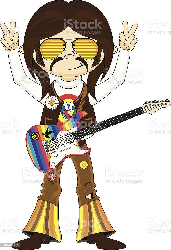 Hippie Rock Star with Guitar vector art illustration