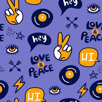 hippie style blue seamless vector pattern