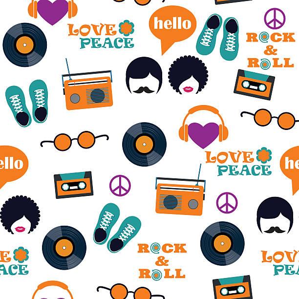 ilustrações de stock, clip art, desenhos animados e ícones de estilo hippie sem costura padrão - viagens anos 70