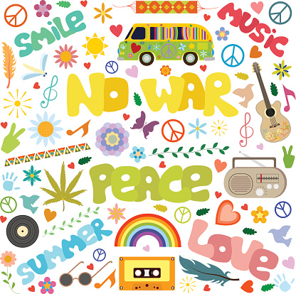 hippie symbols and inscriptions no war, peace, isolated on white background