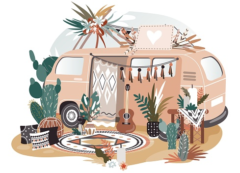 Hippie van in boho style, retro decoration for photo shooting session, vector illustration