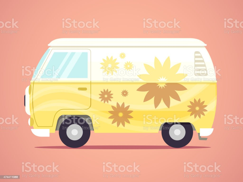 Hippie Van vector art illustration