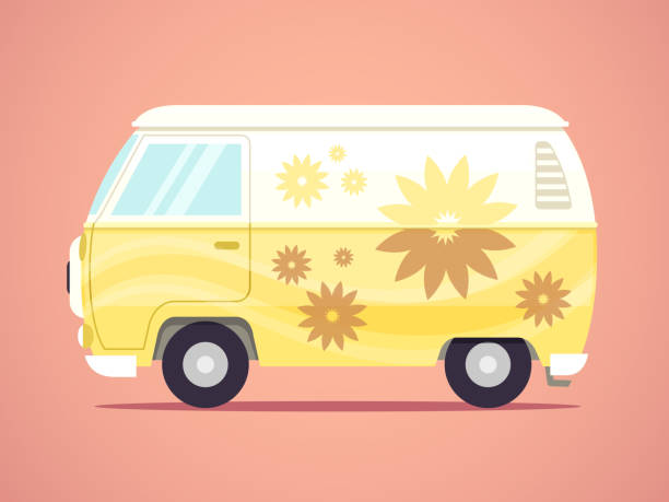 Hippie Van Hippie van vector illustration in flat style mini van stock illustrations