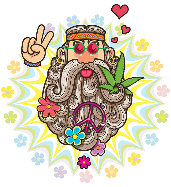 hippie - old man sunglasses stock illustrations, clip art, cartoons, & icons