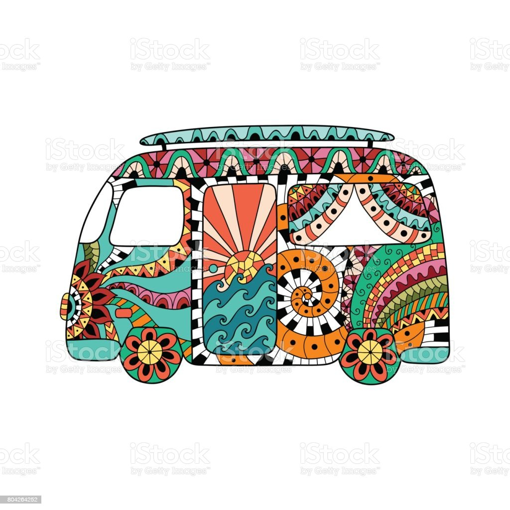 Hippie vintage car a mini van in ornamental style. Colorful hippie bus. vector art illustration