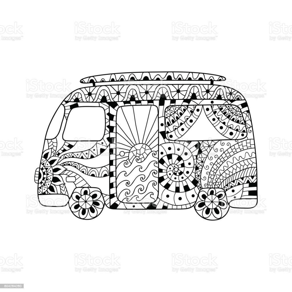 Hippie vintage car a mini van in ornamental style for adult anti stress. vector art illustration